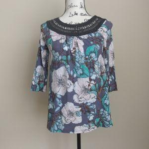 Meadow Rue Anthropologie floral 1/2 sleeve top S